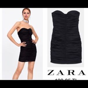 New with tags! Zara ruched little black dress
